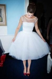 Simple White Scoop Neck Illusion Neck Wedding Dress Tea Length