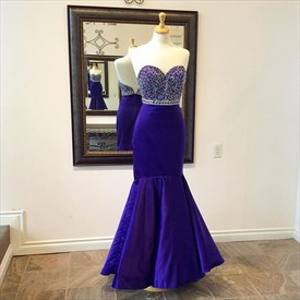 Blue Beaded Strapless Sweetheart Backless Long Mermaid Prom Gown