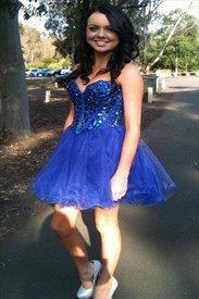 Royal Blue Short Strapless Sweetheart Beaded Corset Party Dress