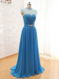 Blue Jewel Neck A Line Long Prom Dress With Sheer Beaded Bodice