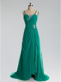 Green Spaghetti Strap Pleated Beaded Chiffon Dress With Front Cascade