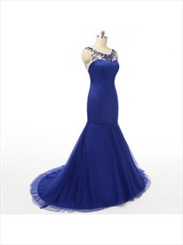 Royal Blue Beaded Open Back Mermaid Evening Gown With Illusion Bodice