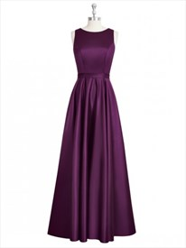 Grape Bateau Neck A Line Sleeveless Prom Dress With Keyhole Back