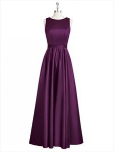 Grape Bateau Neck A Line Sleeveless Prom Dress With Keyhole Back