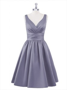 Grey V Neck Sleeveless Fit And Flare Knee Length Cocktail Dress