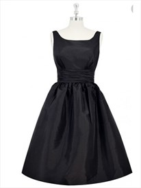 Little Black Scoop Neck Sleeveless Fit And Flare Party Dress