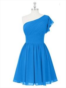 Blue One Shoulder Bridal Dress Short With Crinkle Flutter Sleeve