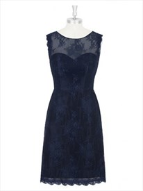 Navy Blue Sheer Lace Bodice Mesh Knee-Length Sheath Cocktail Dress