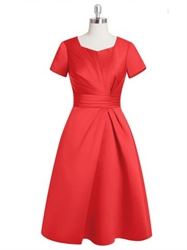 Red Short Sleeve Side Ruched Knee Length Skater Homecoming Dress