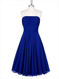 Royal Blue Strapless Sleeveless Ruched Chiffon Short Bridal Dress