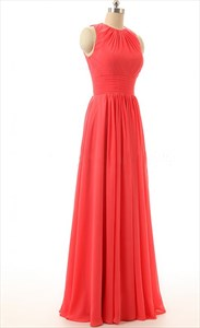 Coral A-Line Floor-Length Halter Prom Dress With Keyhole Back