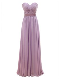 Pink Strapless Sweetheart Twist Front Lace-Up Long Chiffon Prom Dress