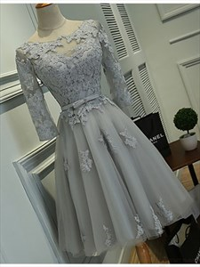 Grey Illusion Lace Applique Short Cocktail Dress With Sheer Sleeve