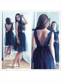 Black Lace Embellished Open Back Short Prom Dresses With Sheer Top