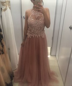 Pink Halter A Line Beaded Applqiue Open Back Tulle Long Prom Gown