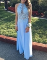 Light Blue Sheer Beaded Lace Applqiue Top Backless Chiffon Prom Dress
