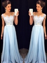 Light Blue Sheer Lace Bodice Chiffon Bottom Floor Length Bridal Dress