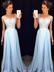 Light Blue Sheer Lace Bodice Chiffon Bottom Floor Length Bridal Dress