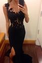 Vintage Black Sheer Lace Applique Mermaid Evening Dress With Slits