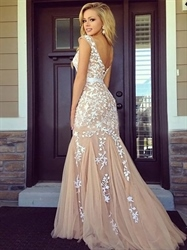 Peach Lace Applique Cap-Sleeve Mermaid Prom Dress With Tulle Bottom