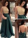 Sequin Bodice Floor Length Embellished Sheer Back Dress With Bow