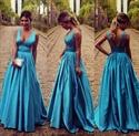 V Neck Sleeveless A Line Floor Length Dress With Sheer Back
