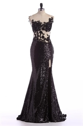 Black Sheer Lace Applique Backless Mermaid Sequin Prom Dress With Slit
