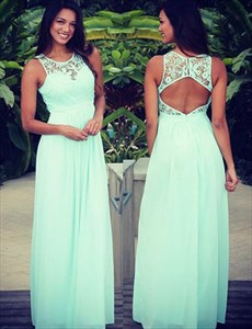 Mint Green Lace Embellished A Line Long Prom Gown With Open Back