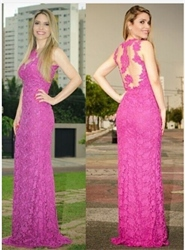 Hot Pink Illusion Neck Sheer Back Lace Sheath Prom Gown Long