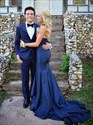 Teal Strapless Sweetheart Mermaid Prom Dress With Train