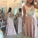 Two Tone Lace Beaded Bodice Sheer Backless Long Prom Gown