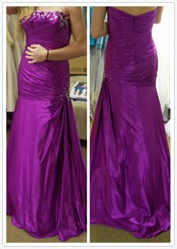 Purple Strapless Backless Long Beaded Ruched Mermaid Prom Dress