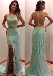 Beaded Backless Embellished Lace Long Prom Dress With Side Slit