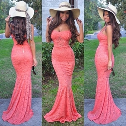 Coral Lace Sweetheart Floor Length Mermaid Prom Dress With Straps