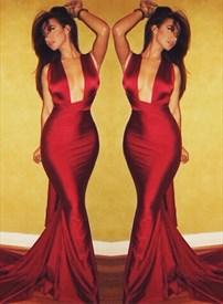 Red Elegant Cross Back Floor Length Mermaid Prom Evening Dress