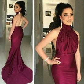 Burgundy Halter High Neck Backless Mermaid Prom Dress With Train
