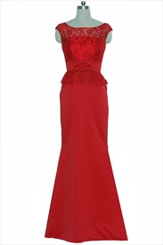 Red Lace Top Cap Sleeve Sheath Floor Length Wedding Dress
