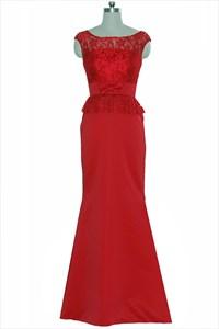 Red Lace Top Cap Sleeve Sheath Floor Length Wedding Dress