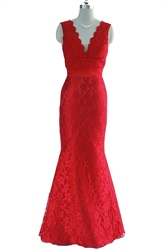 Red V Neck Backless Lace Mermaid Prom Dress With Bow In The Back