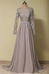 Grey Illusion Lace Bodice Backless Chiffon Dress With Long Sleeves