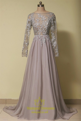 Grey Illusion Lace Bodice Backless Chiffon Dress With Long