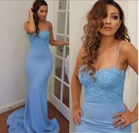 Light Blue Spaghetti Strap Long Sheath Chiffon Evening Dress