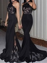 Black Halter Lace Illusion Bodice Mermaid Prom Gown With Split