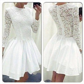White Lace Bodice Fit And Flare Short Party Dress With Long Sleeves