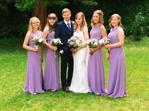 Lavender Lace Bodice Chiffon Skirt A-Line Long Bridesmaid Dress