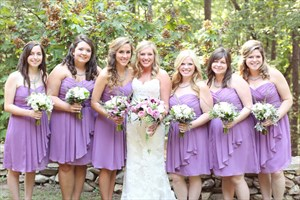 Lavender Strapless Short Crinkle Chiffon Dress With Front Cascade