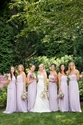 Lilac Strapless Floor Length Chiffon Bridesmaid Dress With Belt