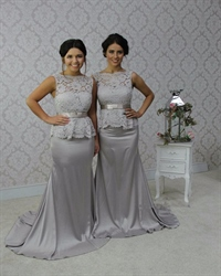 Grey Lace Bodice Peplum Sheath Floor Length Bridesmaid Dress With Bow