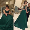 Emerald Green Off The Shoulder Beaded Backless Long Prom Dress