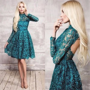 High Neck Long Sleeve Backless Knee Length Lace Party Dress
